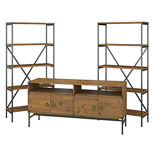 kathy ireland Home by Bush Furniture Ironworks 60W TV Stand with Bookcases in Vintage Golden Pine