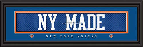 (Prints Charming Nameplate Slogan New York Knicks NY Made Framed Posters 22x6 Inches)