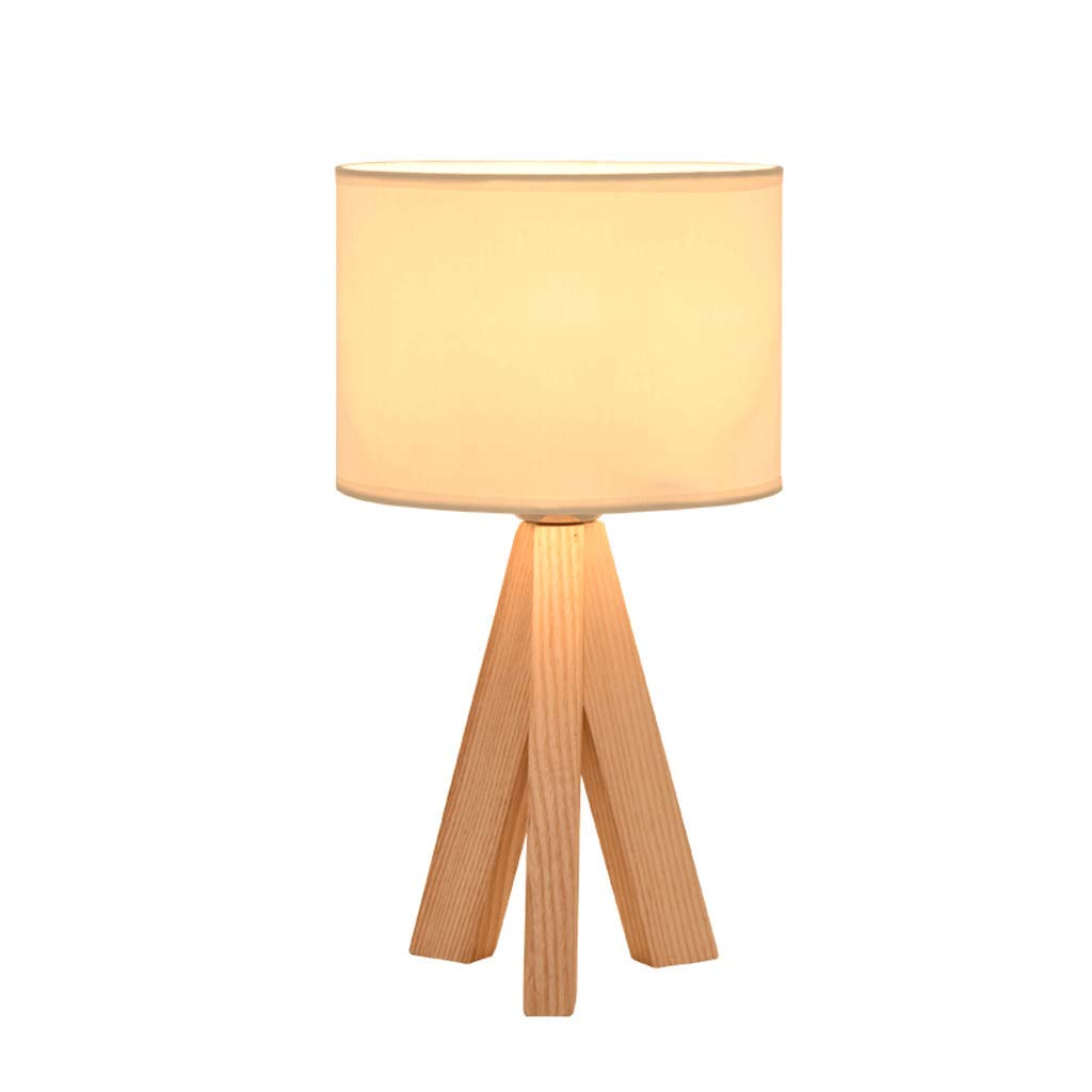 YXN Nordic Style Wooden Bedroom Bedside Table Lamp Minimalist Living Room Reading Lamp LED Light Source (Color : White)