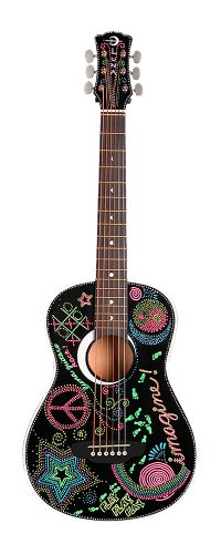 Luna Aurora Imagine Mini Acoustic Guitar, Black