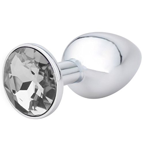 CAONMA Anal Toys 1pcs Luxury Jeweled Stainless Steel Anal Butt Plug For Sex Climax (Small, white)