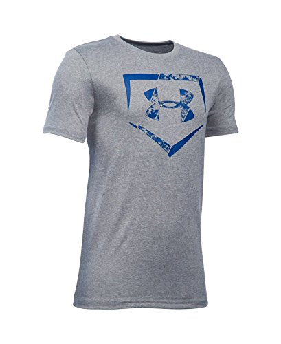 Under Armour Boys' Diamond Logo T-Shirt, True Gray Heather/Royal, Youth X-Large