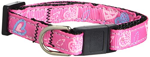 Mirage Pet Products Crazy Hearts Nylon Cat Safety Collars, Bright Pink