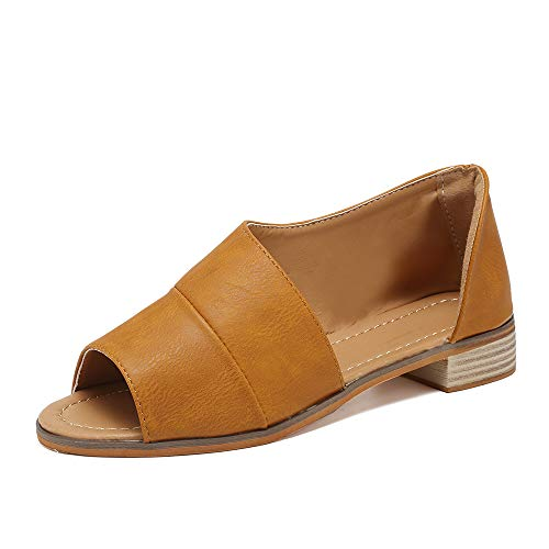 SNIDEL Womens Faux Leather Sandal Open Toe Flats Sip on Summer Casual Low Heels Shoes Brown 8 B (M) US