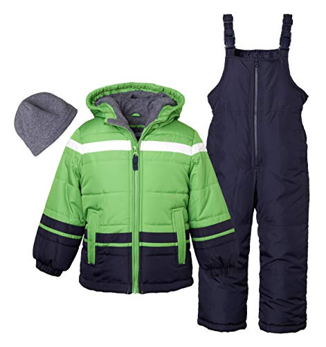 Sportoli Boys' Kids Winter Snowboard Skiing Parka Jacket & Snow Bib Snowsuit Set - Green (Size 4T)