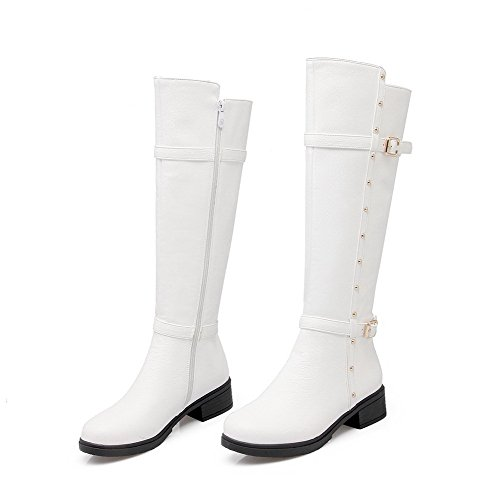 Heels Zipper Solid Soft Closed Women's Low Toe White AgooLar Material Boots Round 7AwqEWx