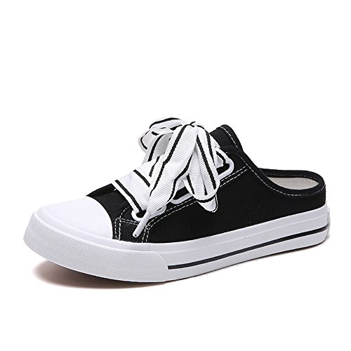 excellent.c Summer Korean Version Without Heel Half Slippers Canvas Shoes Harajuku Style Wild Students Breathable(Black-37/6.5 B(M) US Women)