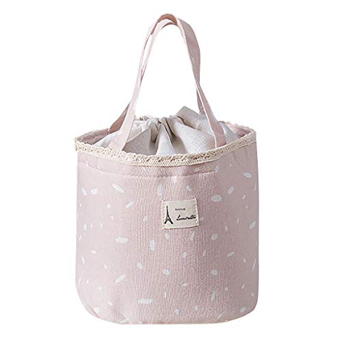LiPing Lunch Bag Insulated Thermal Food Storage Bag Portable Travel Working Bento Box (Pink)