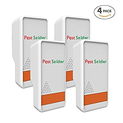 Pest Soldier Set of 4 Major Double Pest Control Ultrasonic Repeller -Electronic Plug -In Repeller for Insects- Best Repellent for, Cockroach, Rodents, Roaches, Spiders, Fleas, Mice By Cravegreens