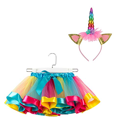 SunTrade Girls Kids Layered Rainbow Colorful Tutu Skirt with Unicorn Horn Headband Outfits for Birthday Party Dress Up Gifts (C, S (for Age 1-3 Years)) ()