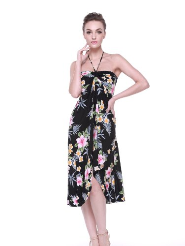 Hawaii Hangover Women's Hawaiian Butterfly Dress XXL Hibiscus Black -