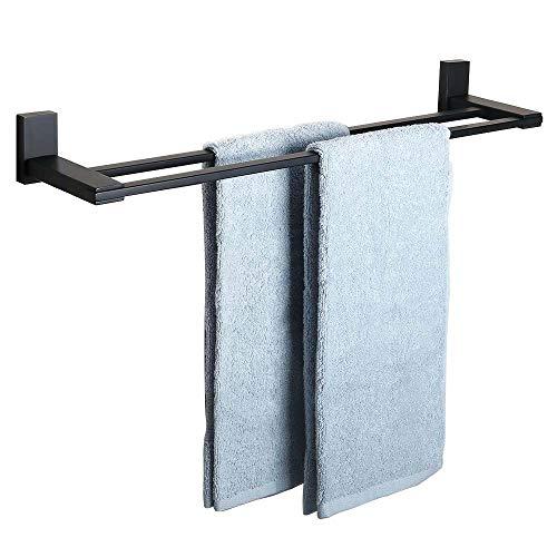 SAYAYO Double Bath Towel Rack, 24-Inch Wall Mounted Towel Bar SUS 304 Stainless Steel Towel Holder, Matte Black, AB72702GZ