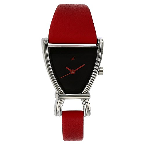 Fastrack Women's 6095SL03 Casual Black Dial Red Leather Strap Watch ()