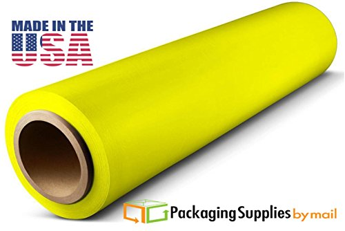 Cast Hand Stretch Plastic Wrap Yellow Tint Film 18'' x 1500' x 80 Gauge 16 Rolls by PackagingSuppliesByMail