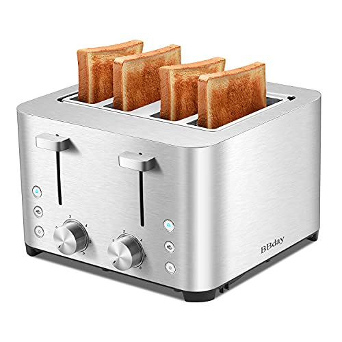 BBday 4 Slice Toasters, 4 Extra Wide Slot Stainless Steel Toaster,with 6 Bread Shade Settings, Defrost,Bagel and Cancel…