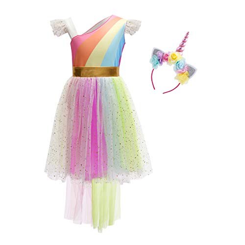 Girls Unicorn Dress up Costume Rainbow Sequin Tulle Ruffle Skirt Birthday Dresses Tutu Outfit Kids Princess Dress Gown Headband 2Pcs Set for Halloween Xmas Fancy Party Pageant Photography Cosplay 4-5 -