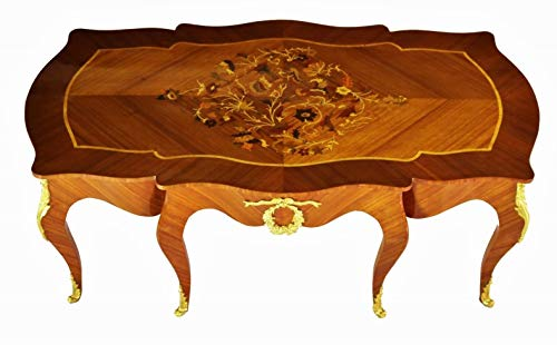Large Louis XV Style Brass and Marquetry Coffee Table - 6095-1815 ()