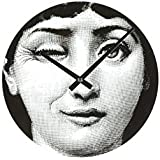 Stilnovo Mid Century Girl Wink Wall Clock, Black/White