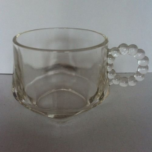 Vintage Depression Glass Hazel Atlas Orchard Line Replacement Square Base Cup with Beaded Handle