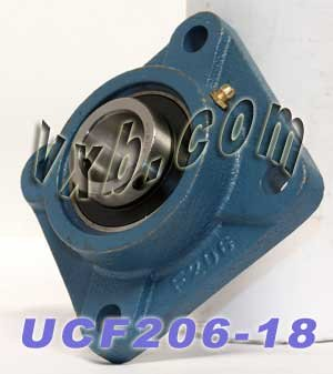 1 1/8 Bearing UCF206-18 + Square Flanged Cast Housing Mounted