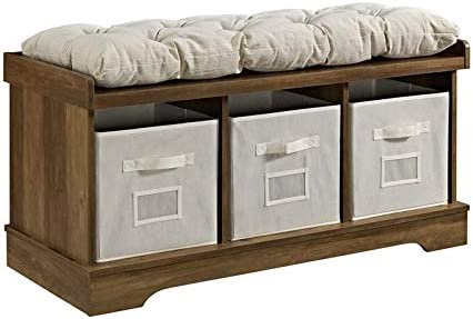 Pemberly Row 42 Wood Storage Bench with Totes and Cushion in Rustic Oak