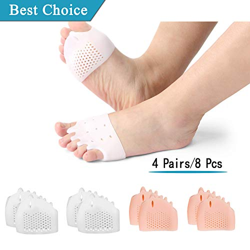 ((8PCS) Ball of Foot Cushions, Metatarsal Pads/Cushion, Gel Toe Separator, Forefoot Cushions Best for Metatarsal Pain & Diabetic Feet,Bunion/Forefoot Pain Relief - for Men & Women. )