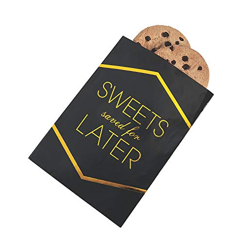 (Fun Express - Sweets Black & Gold Foil Cake Bags 50pc for Wedding - Party Supplies - Bags - Paper Treat Bags - Wedding - 50 Pieces)