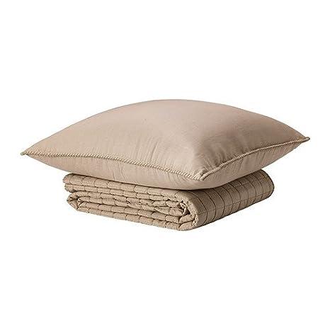 Amazon.com: IKEA STRANDVETE – Colcha y funda de cojín, Beige ...