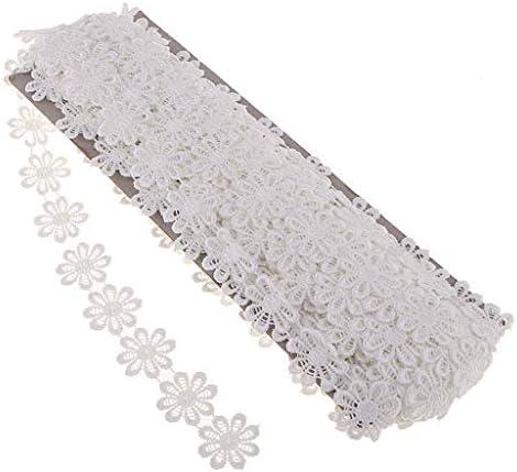 freneci 15ヤードデイジーレーストリムクロシェフラワーリボンステッチシーム - 白