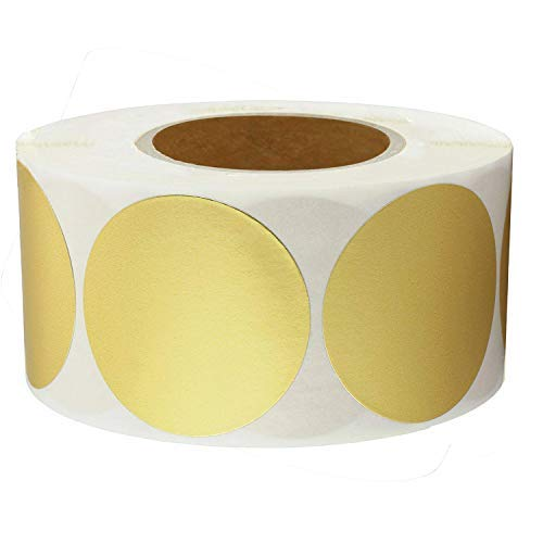 2 Inch Round Color-Code Dot Labels | Gold Color Coding Colored Labels | 500 Permanent Adhesive Colored Circle Stickers Per Roll for Moving/Storage/Organizing/Color Coding/Arts (Gold) ()