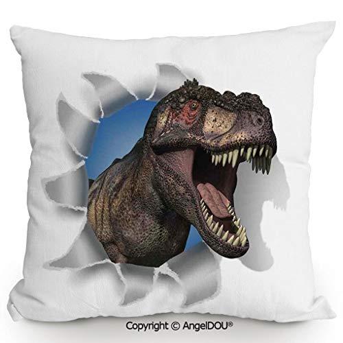 (AngelDOU Decorative Cotton Linen Pillowcase with core,A Tyrannosaurus Rex Pokes his Head Through Paper Wall Dinosaurs Extinct Large,Sofa Bedroom Car Eco-Friendly Pillow Cushion.13.7x13.7 inches)