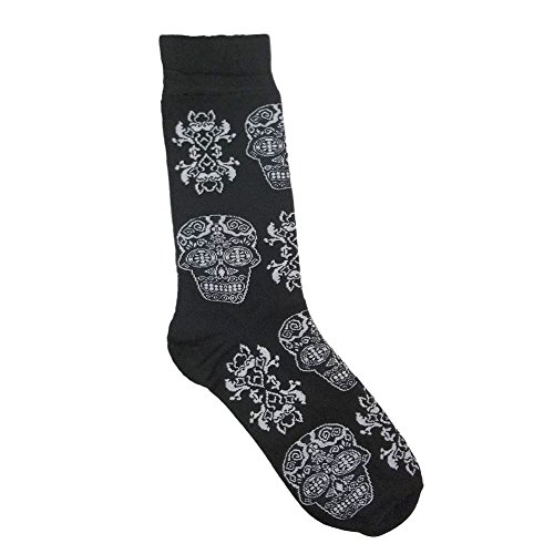 Men's Day of the Dead Black and White Skull Print Socks One Size Fits Most ()