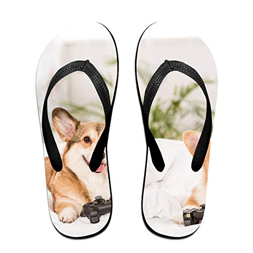 Sprutea Kogi Dog Playing Games On The Sofa Personalized Casual Flip Flop Sandals for Men and Women for Home Beach Or Shower Black