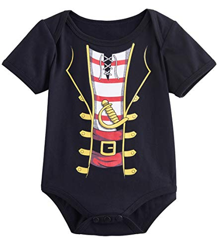 (COSLAND Baby Boys' Pirate Costume Bodysuits (Black, 3-6)