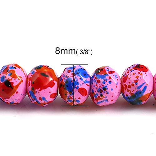 Calvas Glass Beads Round Dot Paint Pattern Faceted for Jewelry Making About 8mm(3/8