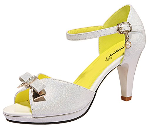 Little Bow Peep Costume Women (Passionow Women's Cute Bowtie Open Toe Ankle Strap Buckle Block Heel Dress PU Sandal Pumps (5.5 B(M)US,White))