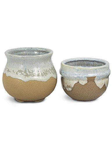 Dahlia Set of 2 Vintage Glazed Handmade Ceramic Succulent Planter/ Plant Pot/ Flower Pot/ Bonsai Pot