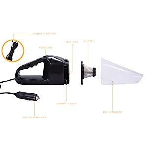 Car Vacuum Cleaner, 12V 120W Wet Dry Portable Handheld Auto Vacuum Cleaner for Car 14FT(5M) Power Cord (Black)