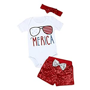 Matoen Baby Girl 4th Of July Clothes Outfits Set,Newborn Patriotic Romper+Shorts Pants