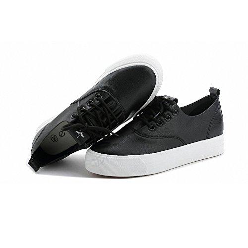 Buganda Kvinna Mode Läder Sneakers Spets Ups Gömda Häl Platåskor Svart