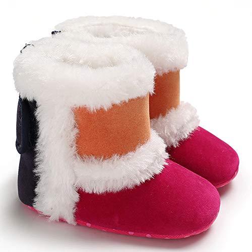 Tonsi Neige Chaussures De Enfant Hiver Couture Premiers Peluche Vif Bottes Bébé Bottines Chaud Rose Basket Pas Sneakers q6w4tc
