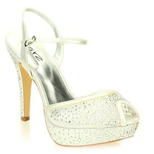 Women Ladies Evening Wedding Party High Heel Platform Diamante Bridal Sandals Shoes Size Silver uKiylDn