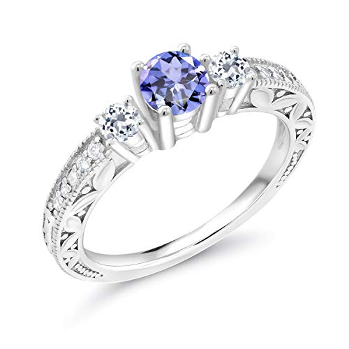 Gem Stone King 0.87 Ct Round Blue Tanzanite White Topaz 925 Sterling Silver Ring (Size - Stone Tanzanite Ring 3