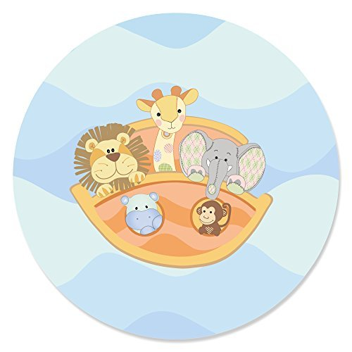 Big Dot of Happiness Noah's Ark - Baby Shower Circle Sticker Labels - 24 Count ()