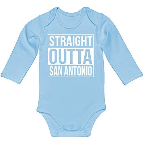 Baby Romper Straight Outta San Antonio Light Blue for 6 Months Long-Sleeve Infant Bodysuit]()