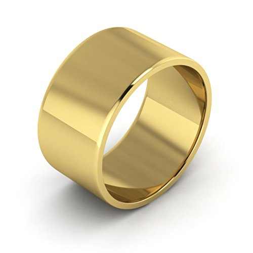 14K Yellow Gold men's and women's plain wedding bands 10mm light flat, 6 by i Wedding Band