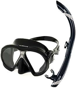 Atomic Scuba Snorkeling Mask Snorkel Set, All Black