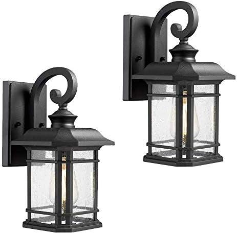 Emliviar Outdoor Wall Lanterns 2 Pack, 1-Light Exterior Wall Mount Light, Black Finish with Clear Seedy Glass, 2084B-2 BK Renewed