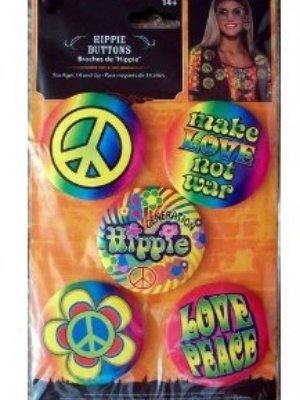 Hippie Buttons Peace Sign '60s Slogans Set of (Slogan Sign)