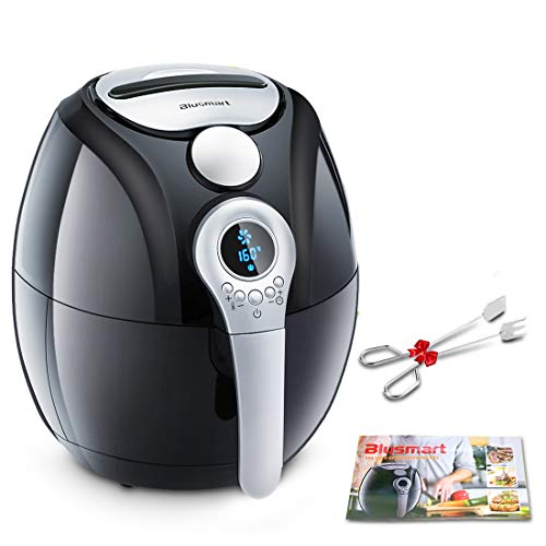 Air Fryer, Blusmart Electric Air Fryer, 3.4Qt 3.2L 1400W, LED Display, Hot Air Fryer, Healthy Oil Free for Cooking Baking Recipes Kitchen Tongs Included